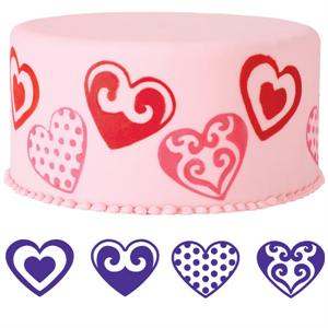 Wilton 4-Pc. Hearts Cake Stamp Set
