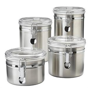 OGGI 4 Piece Airtight Stainless Steel Canisters Set