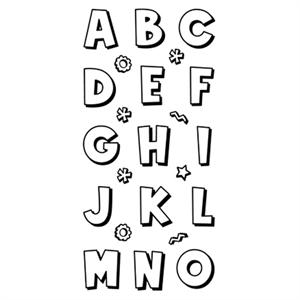 Inkadinkado Clear Stamp Cartoon Alphabet Set
