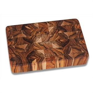 PROTEAK Rectangle End Grain Cutting Board With Hand Grips - 12 x 8 x 2 Inches