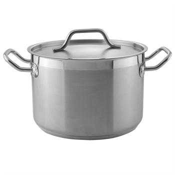 Winco 8 Qt. Heavy-Duty Stainless Steel Stockpot with Cover