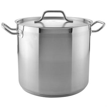 Winco 16 Qt. Heavy-Duty Stainless Steel Stockpot with Cover