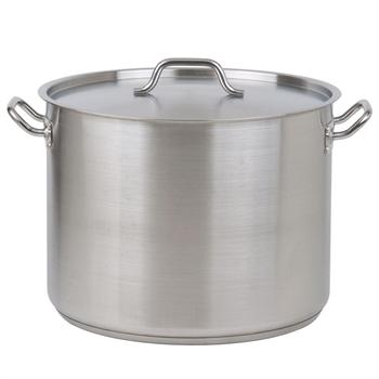 Winco 40 Qt. Heavy-Duty Stainless Steel Stockpot with Cover