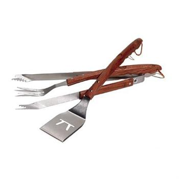 Outset Rosewood and Stainless Steel 3-Piece Barbeque Set