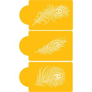 Designer Stencils Peacock Feather Cake Stencils, Set Of Three