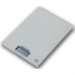 Salter 1041WHDR Glass Electronic Kitchen Scale, White