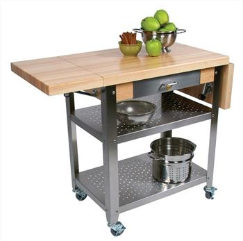 "John Boos Cucina Elegante 1-3/4"" Thick Hard Maple Kitchen Cart"