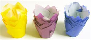 Colored Tulip Baking Cups 15 per package