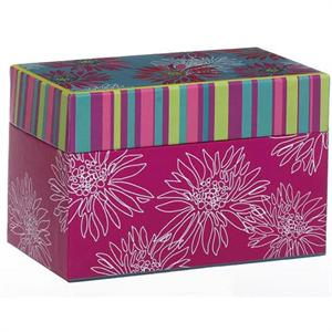 Ganz Pink Floral Design Recipe Card Box With Cards