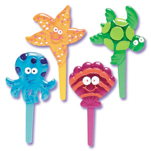 Bakery Crafts Seashore Friends Jewel Puffy Cupcake Picks