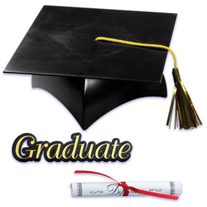Grad Hat and Diploma Cake Set
