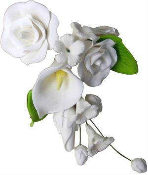 Tea Rose & Calla Lily Spray Gumpaste Flower 2-Pk