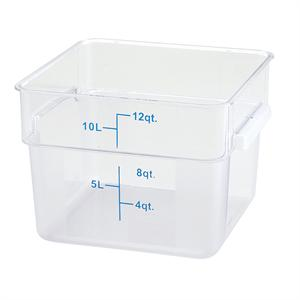 Winco NSF Polycarbonate 12 Quart Square Storage Container