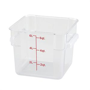 Winco NSF Polycarbonate 6 Quart Square Storage Container
