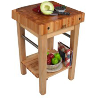 John Boos Pro Prep Maple Butcher Block With Optional Pot Rack