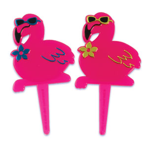 Bakery Crafts Pink Flamingo Cupcake Picks