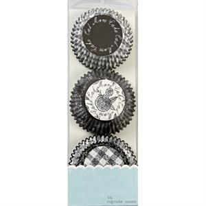 Black & White Flowers & Checks Mini Baking Cups 96 ct.