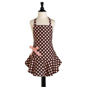 Jessie Steele Brown & Pink Polka Dots Children's Bib Apron