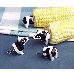 Charcoal Companion Cow Corn Holders - 4 Pairs