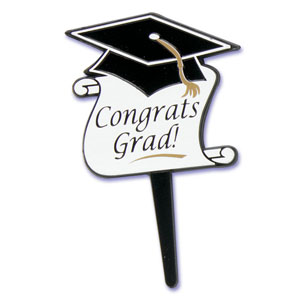 Congrats Grad Cap & Scroll Cupcake Picks