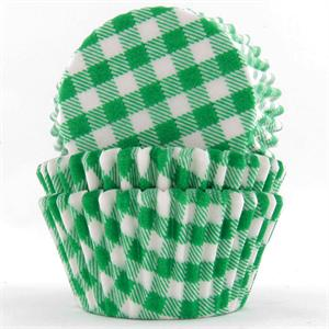 Green Gingham Baking Cups