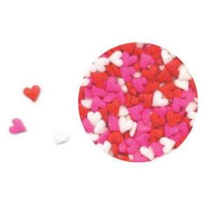 Mini Red, White And Pink Shaped Heart Sprinkles