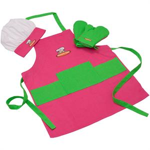 Curious Chef Kids 4 Piece Pink-Green Textile Set