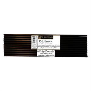 Poly-Dowels 1/4-in x 12-in, Licorice Black