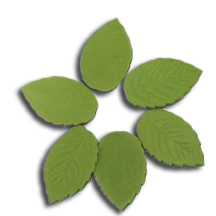Green Gumpaste Hand Made Rose Leaves - 16 Per Package