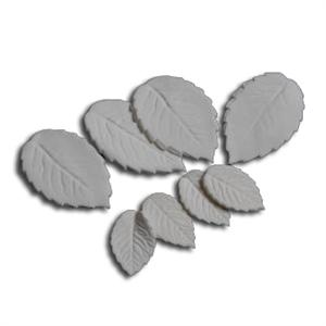 White Gumpaste Hand Made Rose Leaf - 16 Per Package