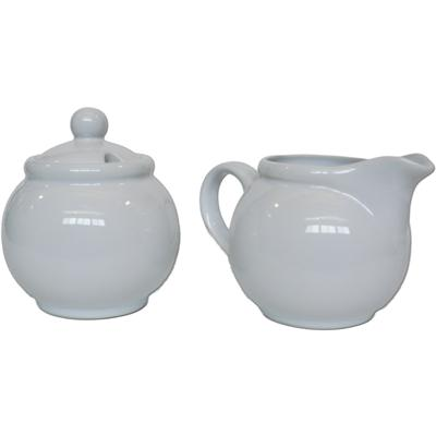 Ceramic Creamer and Sugar Set with Sugar Spoon Slot - White