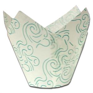 White With Green Swirl Tulip Baking Cups
