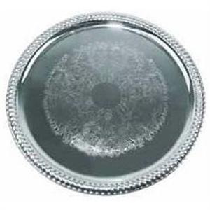 Winco 14 Inch Round Chrome Serving Tray