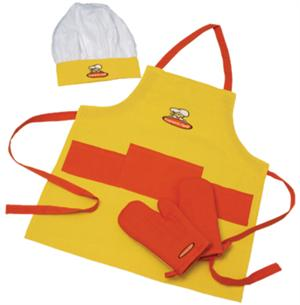 Curious Chef Kids 4 Piece Yellow/Orange Textile Set
