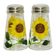 Grant Howard Sunflower Design Glass Salt & Pepper Shaker Set