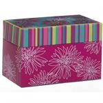 Pink Floral Design Recipe Card Box With Cards