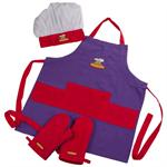 Curious Chef Kids 4 Piece Purple-Red Textile Set