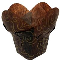 TBK Brown with Gold Swirl Lotus Baking Cups