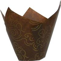 TBK Brown With Gold Swirl Tulip Baking Cups