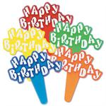 Happy Birthday Bouncy Letters Cupcake Picks