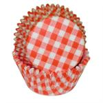 Orange Gingham Baking Cups