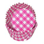 Pink Gingham Baking Cups