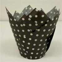 TBK Black with White Polka Dots Tulip Cups