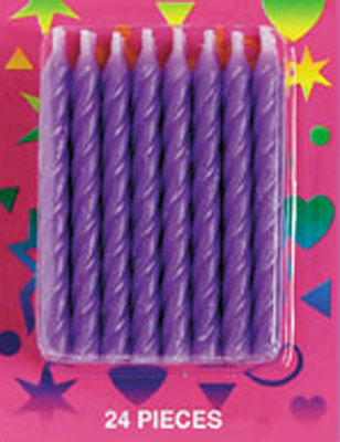 Bakery Crafts Candy Stripe Candles Purple