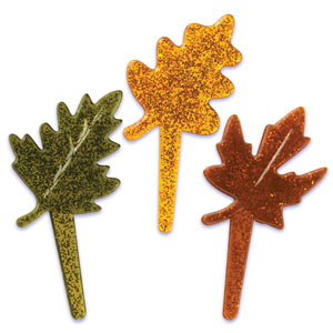 Bakery Crafts Fall Leaves Glitter Cupcake Picks