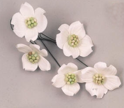 Gumpaste Hand Made Dogwood Blossoms   4 Per Package