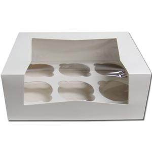 TBK White 6 Count Cupcake Box With Insert - 12 Sets Per Pack
