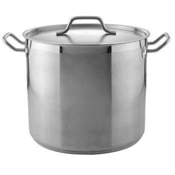 Winco 20 Qt. Heavy-Duty Stainless Steel Stockpot with Cover
