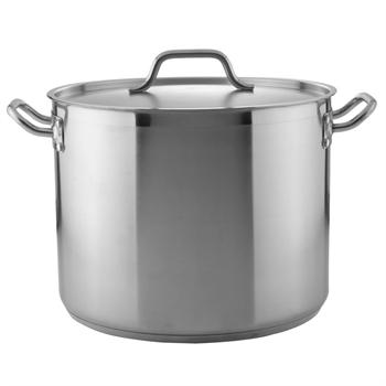 Winco 32 Qt. Heavy-Duty Stainless Steel Stockpot with Cover