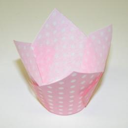 TBK Lt. Pink with White Polka Dots Tulip Cups